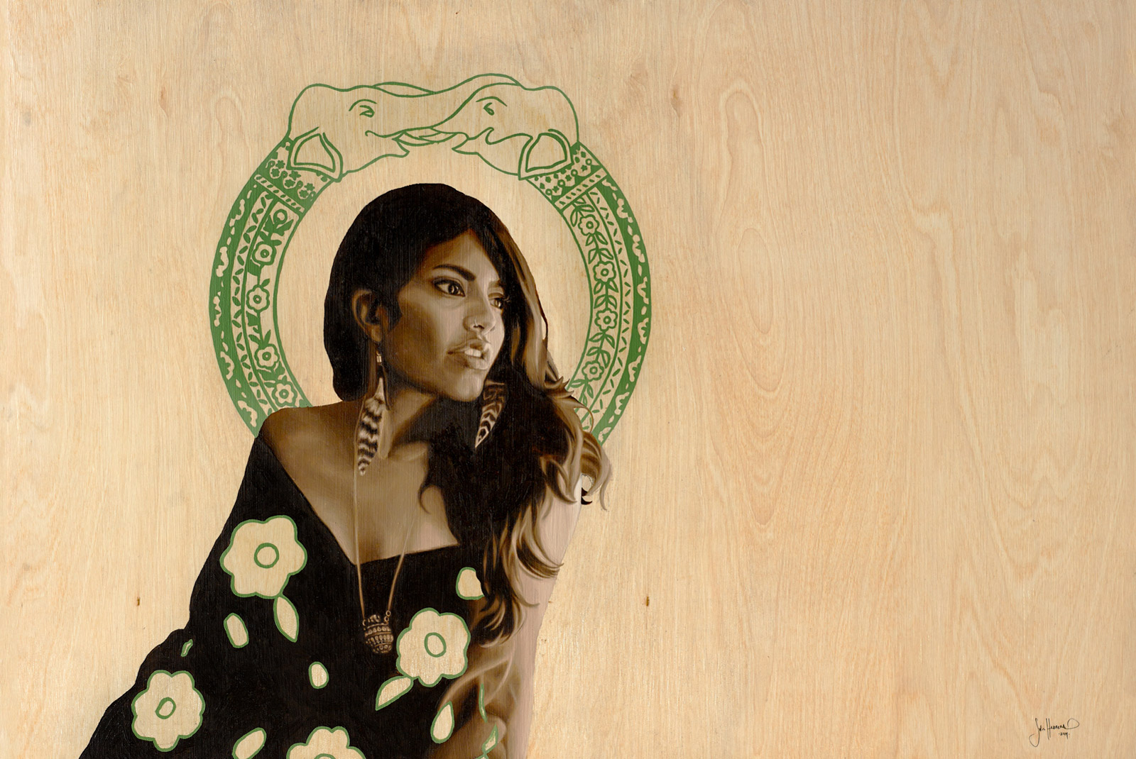 Amina - 24x36 Oil Painting on Wood By Jodie Herrera