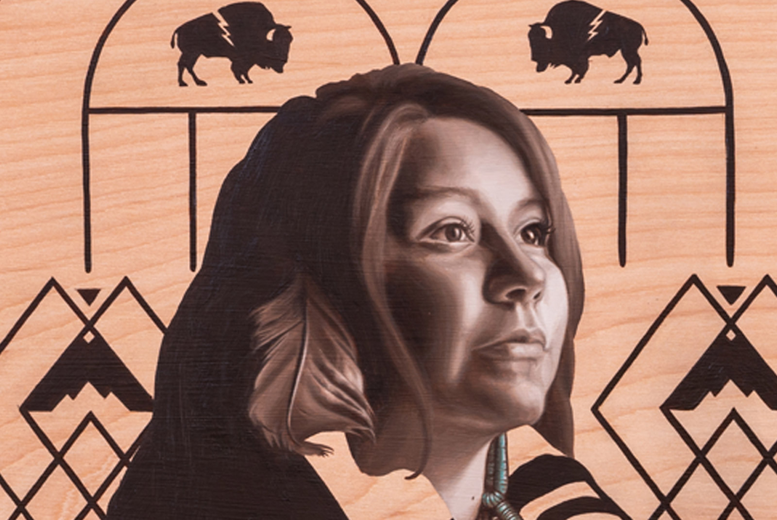 Hope - Close up of Native American Oil Painting on Wood By Jodie Herrera